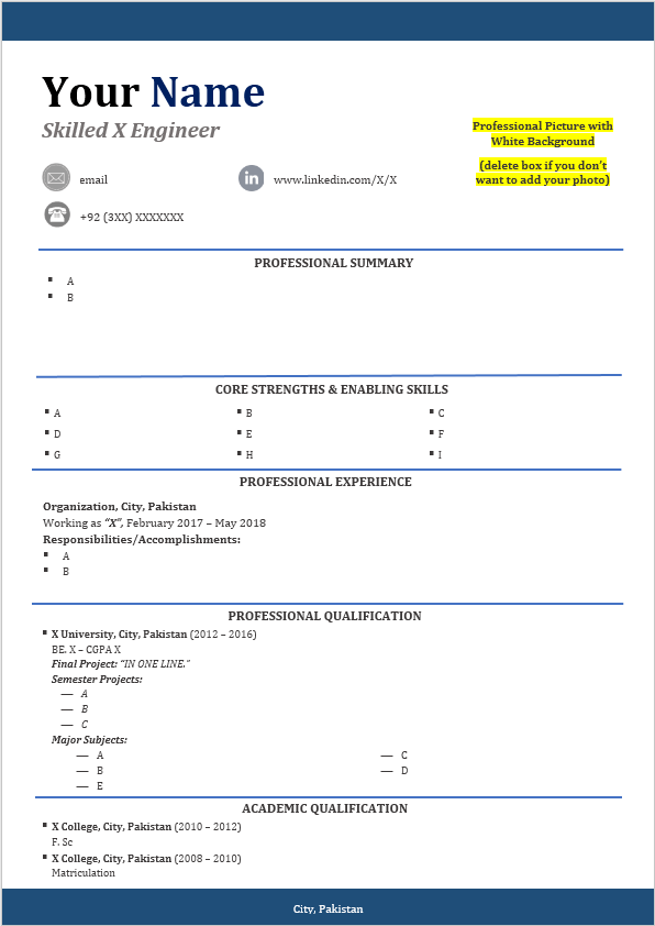 cv template available for free download