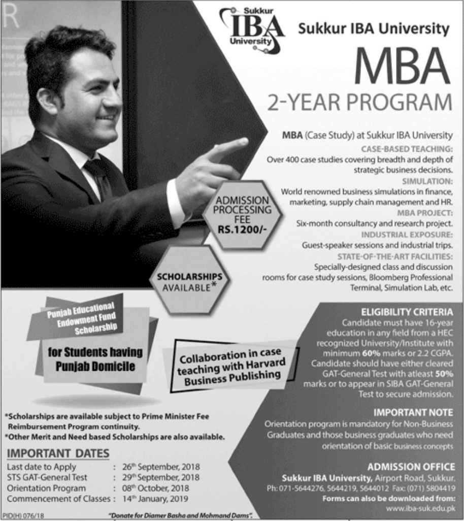 sukkur iba university mba admission