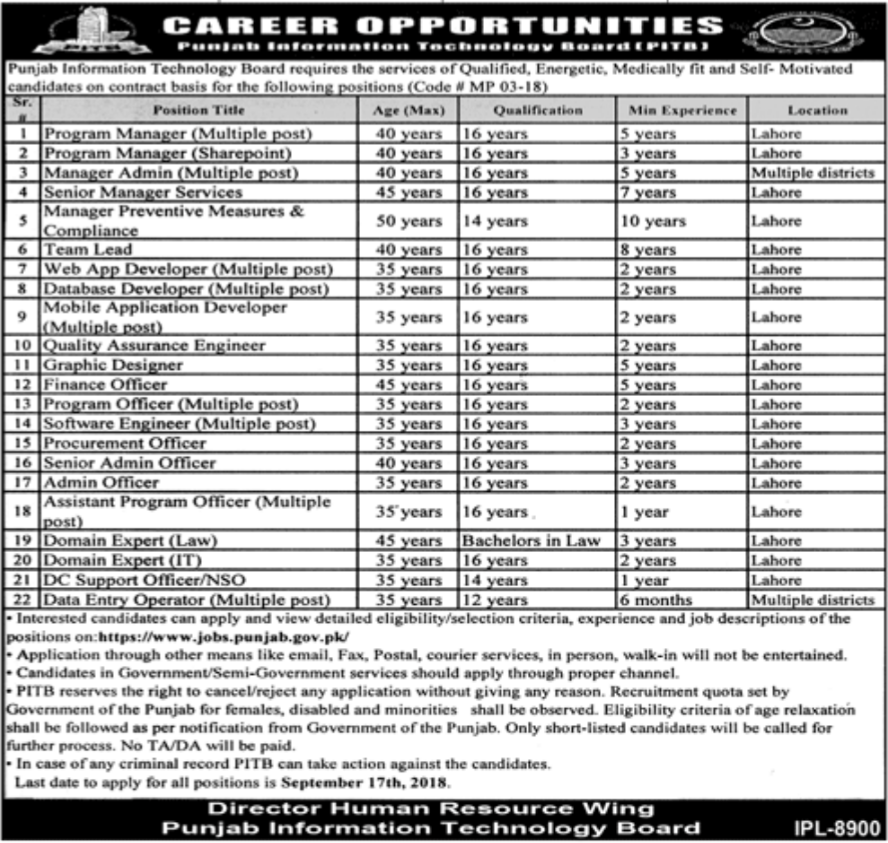 Punjab Information Technology Board Jobs