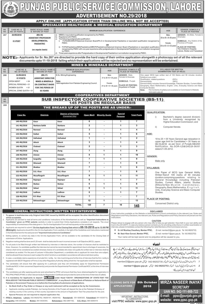 Punjab Public Service Commission Jobs Advt 29