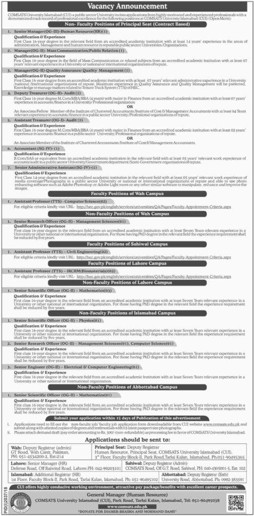 Comsats Univerity Islamabad Jobs