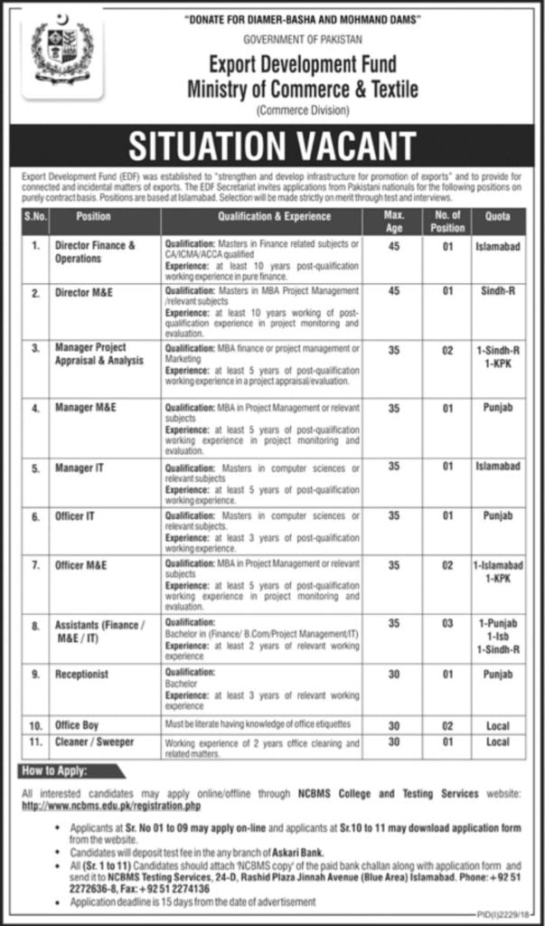 Ministry of Commerce and Textile Jobs November 2018