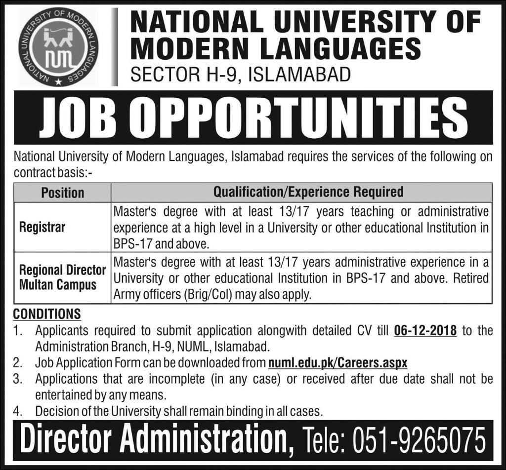 Numl University Islamabad Jobs