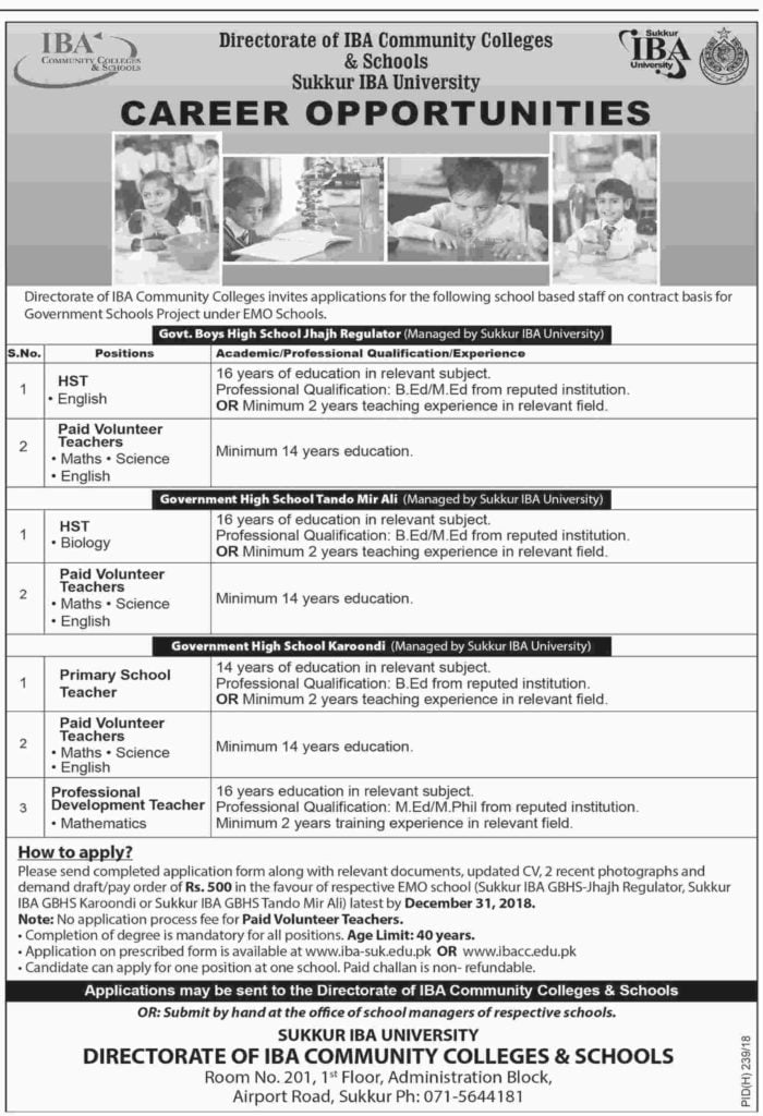 IBA Community Colleges and Schools Teaching Jobs