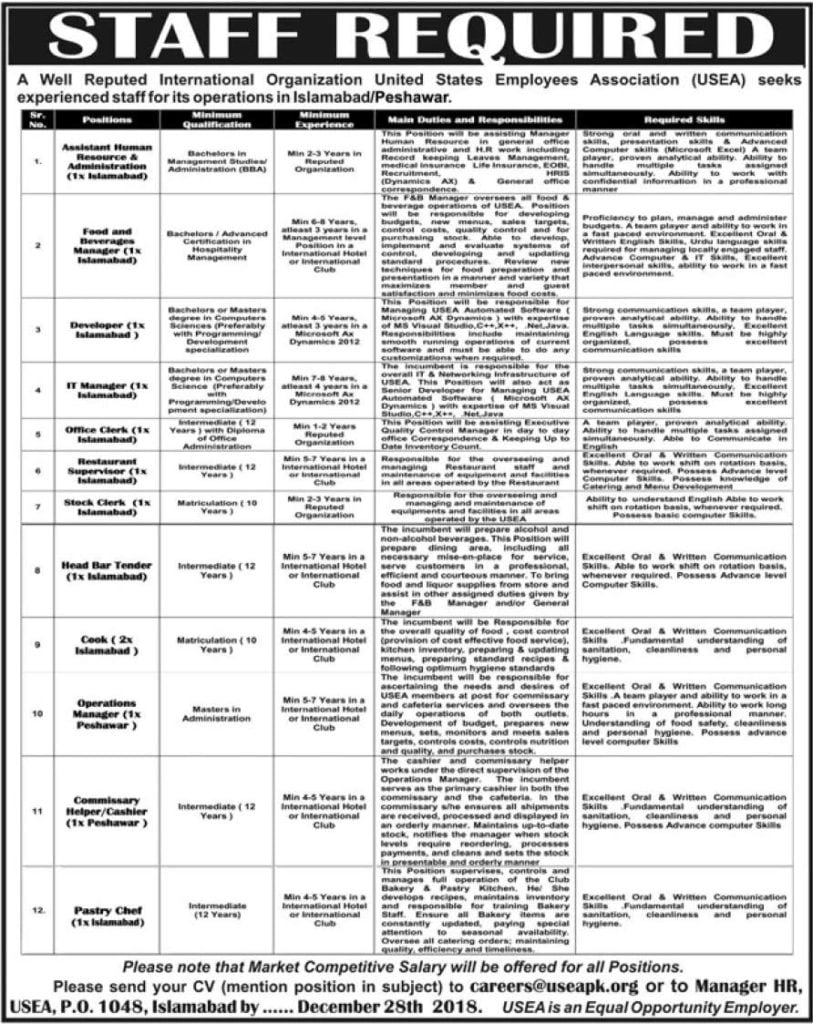 PO Box 1048 Islamabad Jobs