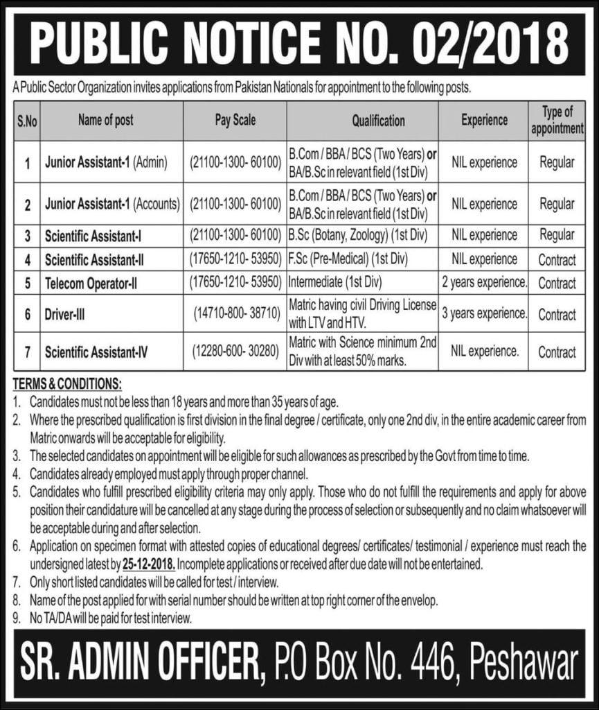 PO Box 446 Peshawar Public Notice No 2