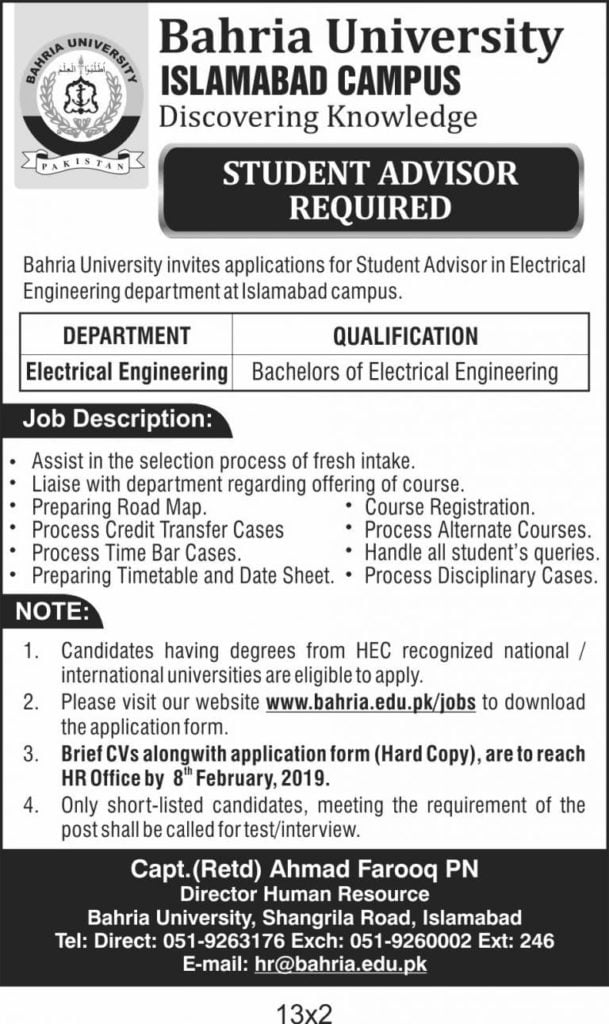 Bahria University Islamabad Student Advisor Required