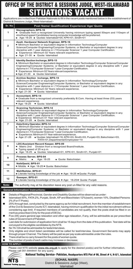 District and Session Court Islamabad Jobs 2019 NTS Test