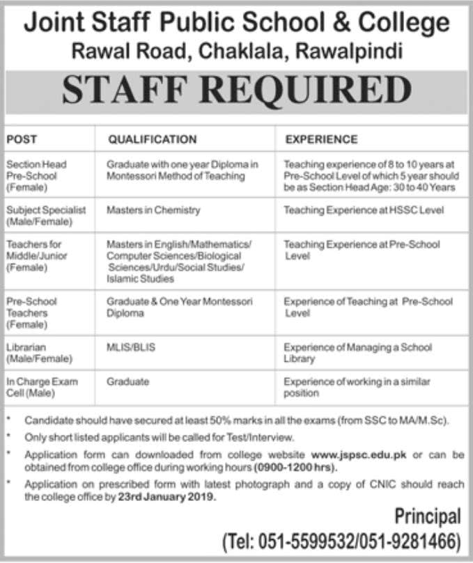 Joint Staff Public School and College Rawalpindi Jobs