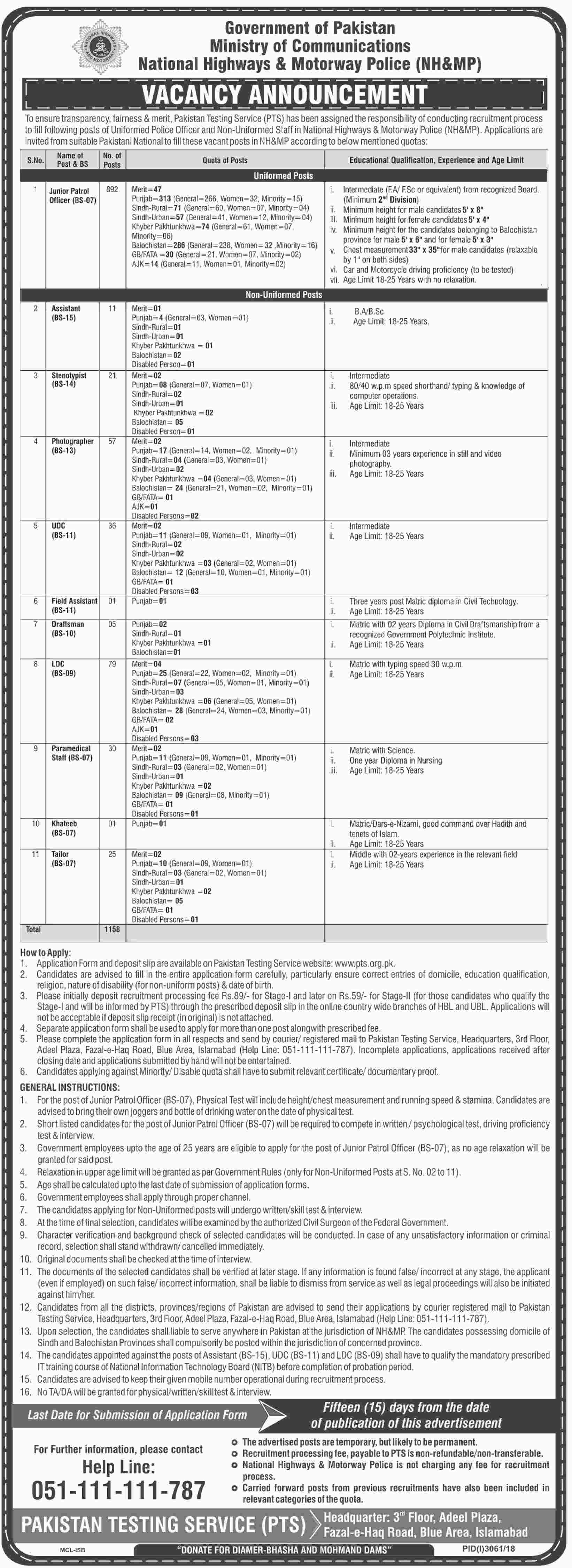 National Highway and Motorway Police Jobs 2019 1158 Posts PTS
