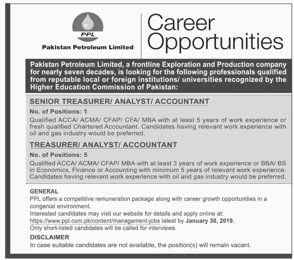 Pakistan Petroleum Limited PPL Jobs 2019 Apply Online