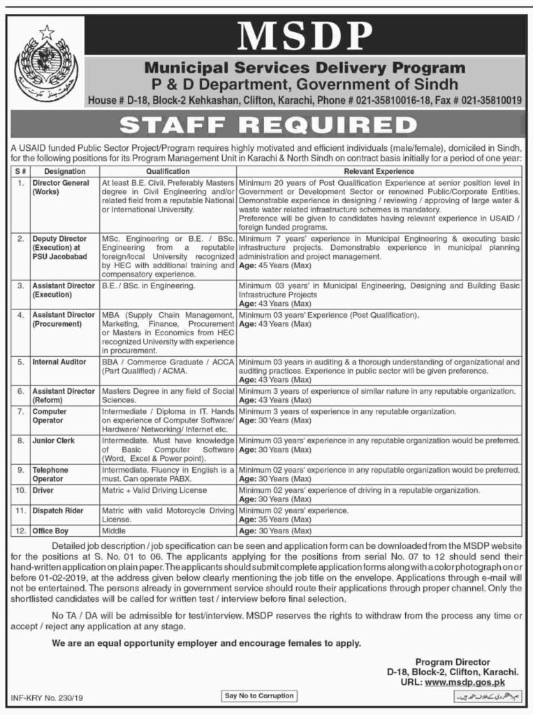 USAID Funded Project Jobs MSDP P&D Sindh Government