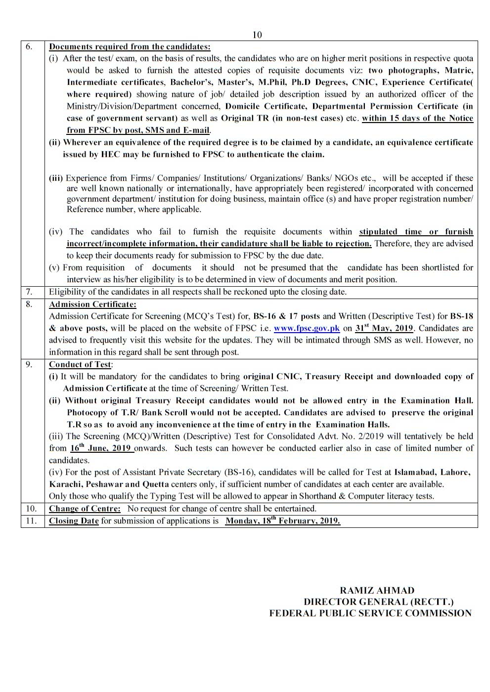 FPSC New Jobs Advertisement No 2 2019 Apply Online - Filectory