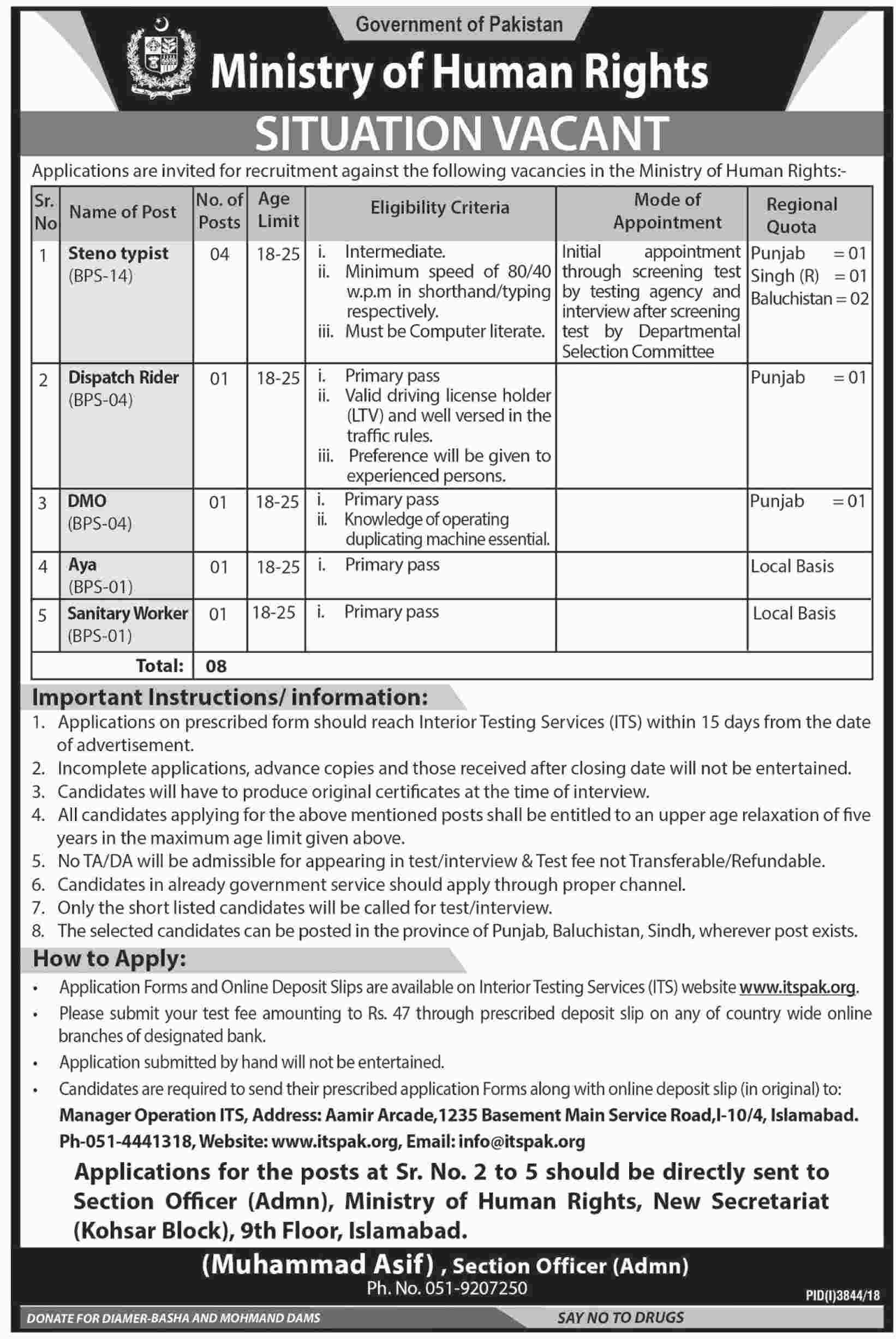 Ministry of Human Rights Interior Testing Services ITS Jobs
