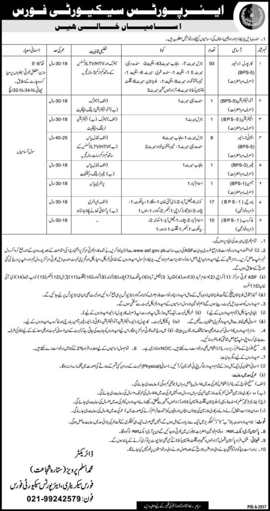 Pakistan Airport Security Force ASF Jobs 2019 www asf gov pk