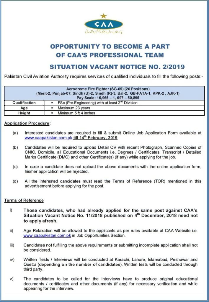 Pakistan Civil Aviation Authority CAA Latest Jobs 2019 Apply Online Situation Vacant Notice No 2 2019 a