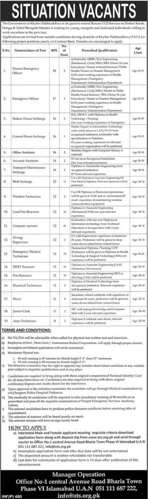 Rescue 1122 New KPK Jobs 2019 Apply Online OTS
