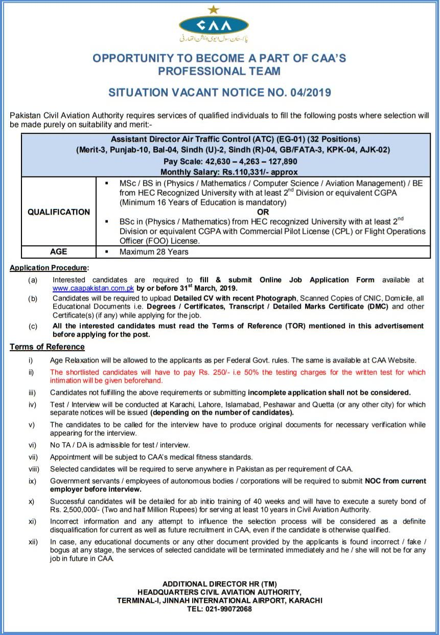 Civil Aviation Authority Jobs 2019 Caa Notice No 4 2019