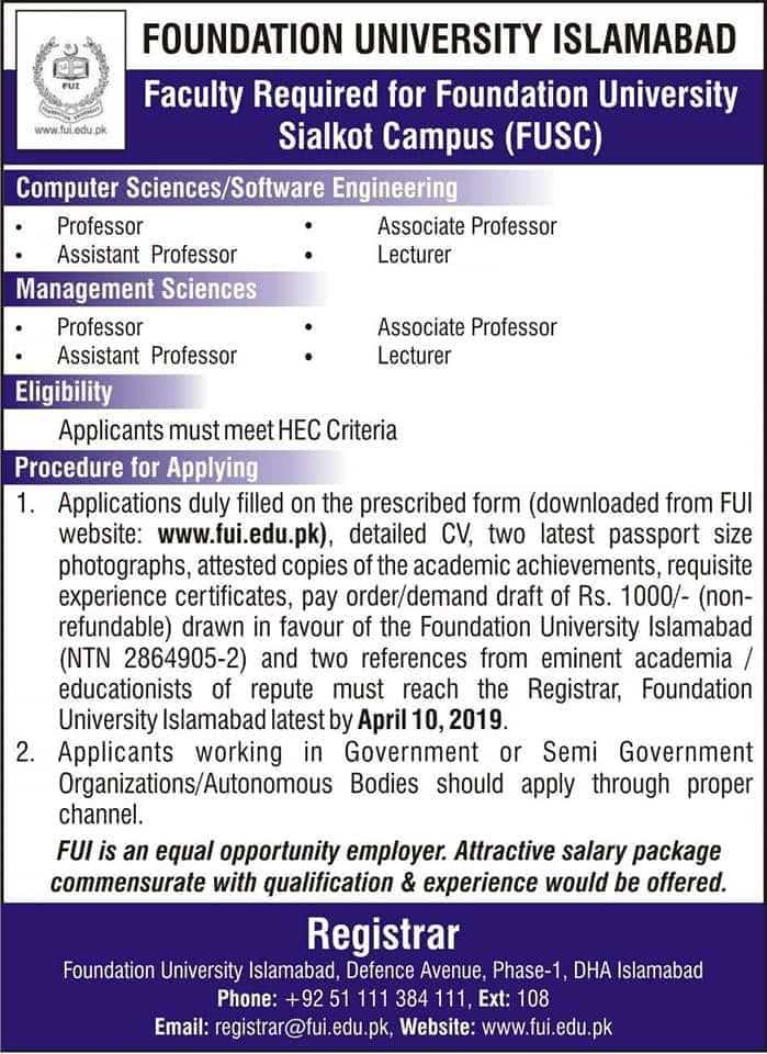 Foundation University Islamabad Sialkot Campus Jobs 2019 Faculty Required