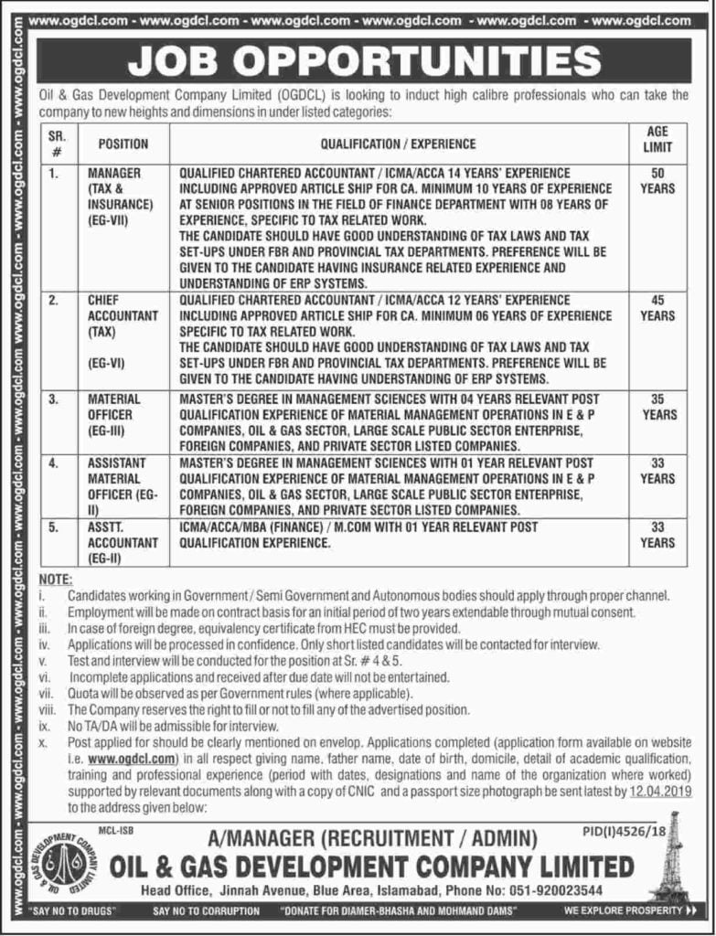 Oil and Gas Development Company Limited OGDCL Jobs 2019