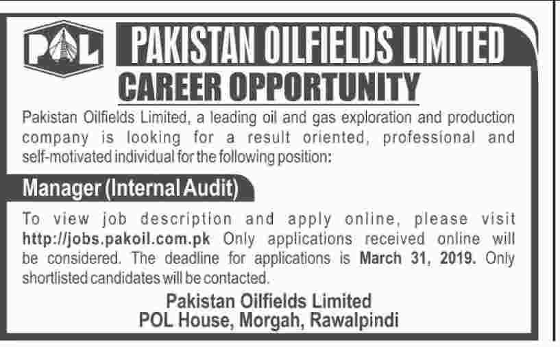 Pakistan Oilfields Limited POL Jobs 2019 Manager Internal Audit Post