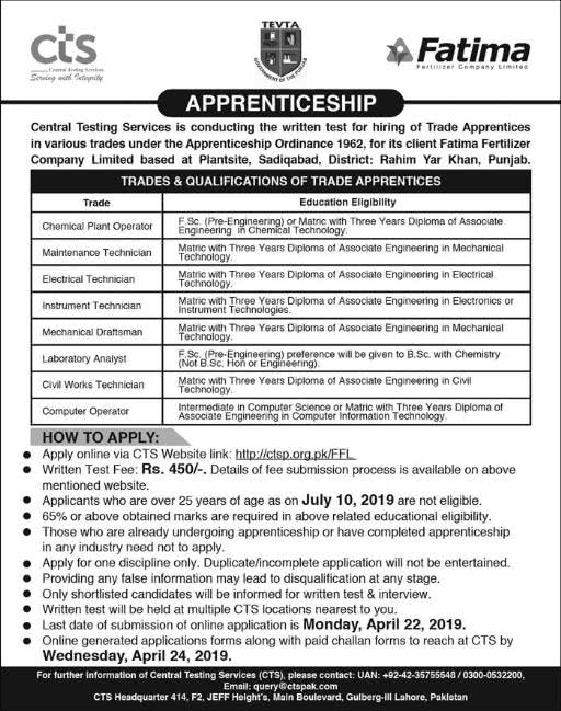 Fatima Fertilizer Company Limited Apprenticeship 2019 Apply Online Central Testing Services CTS