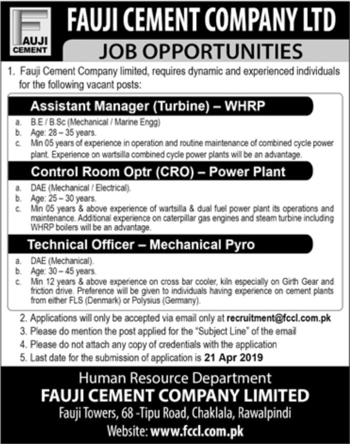 Fauji Cement Company Limited FCCL Jobs 2019 Apply Online