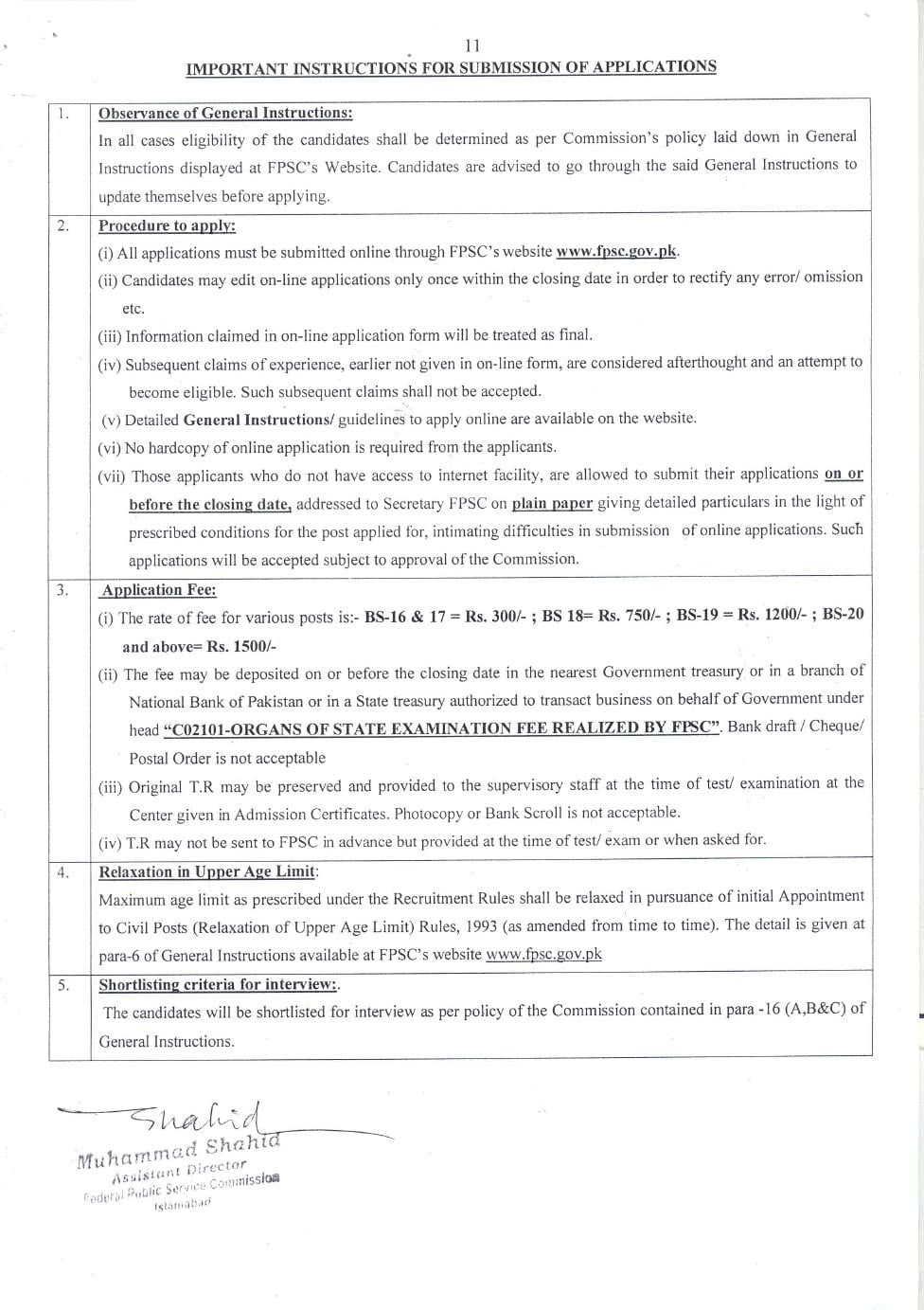 FPSC Jobs Advertisement No 4 2019 Apply Online - Filectory