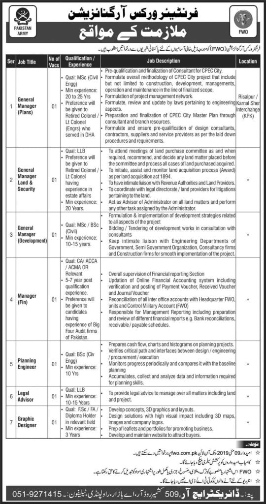 Frontier Works Organization FWO Jobs April 2019 Apply Online