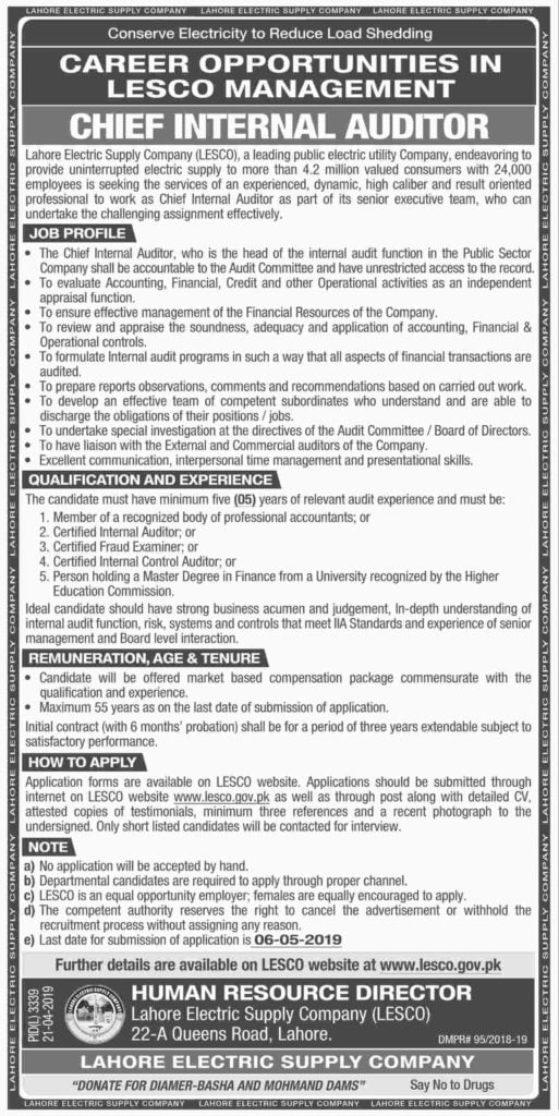 Lahore Electric Supply Company LESCO Jobs 2019 www.lesco.gov.pk Apply Online Chief Internal Auditor Post