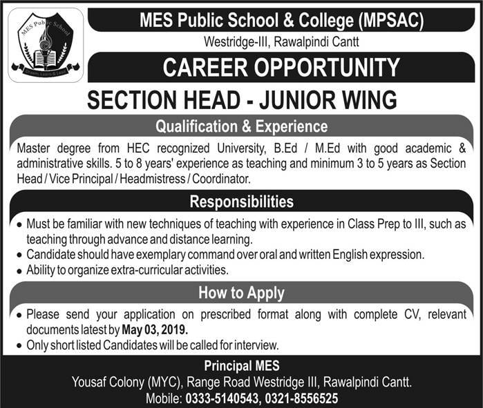 MES Public School & College MPSAC Rawalpindi Jobs 2019