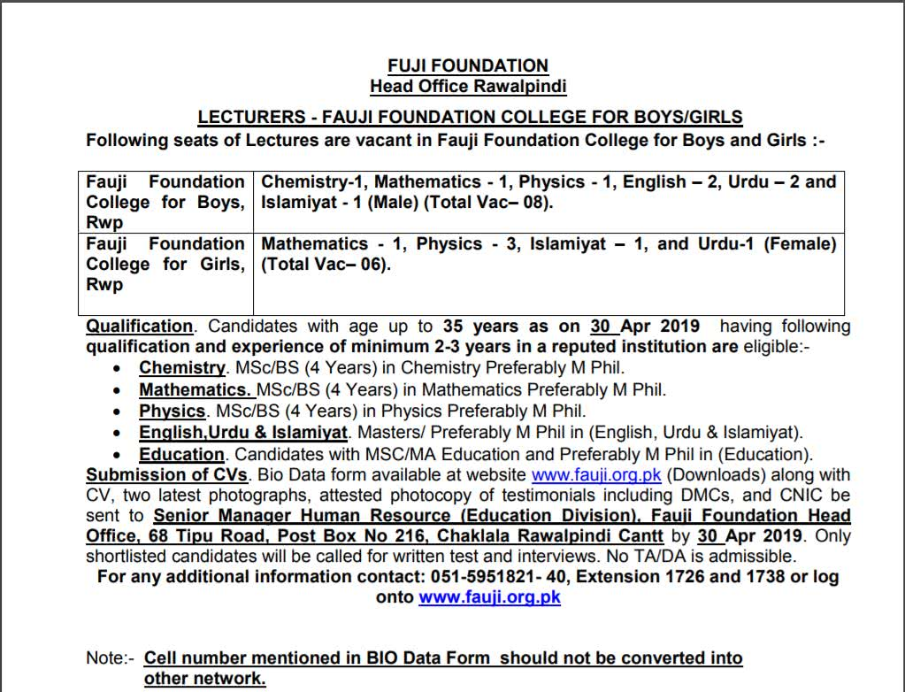 PO Box 216 Fauji Foundation College Lecturer Jobs 2019