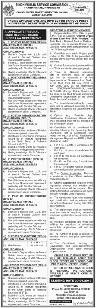 Sindh Public Service Commission SPSC Jobs Today Advertisement No 6 2019 Apply Online