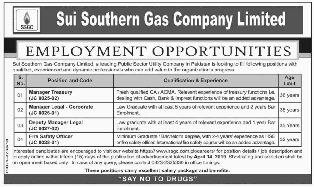 Sui Southern Gas Company Limited Jobs 2019 Apply Online