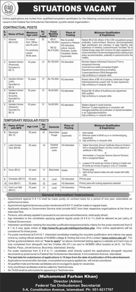 Government of Pakistan Federal Tax Ombudsman FTO Jobs 2019 Apply Online