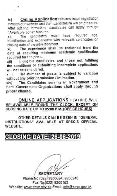 Sindh Public Service Commission SPSC Latest Jobs Advertisement No 8 2019 Apply Online b