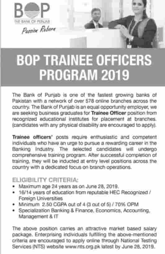 Bank of Punjab Jobs BOP Management Trainee Officers Program 2019 NTS