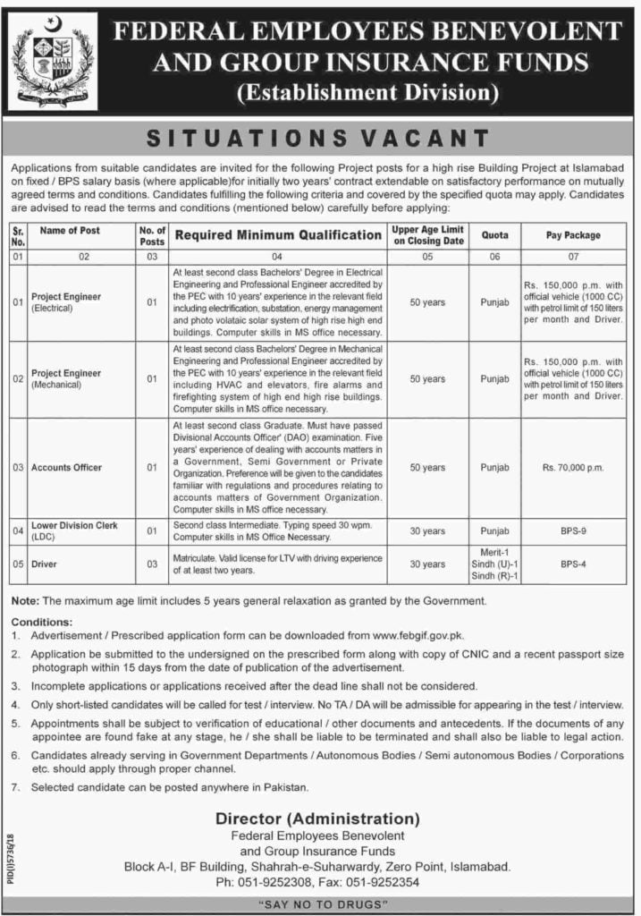Federal Employees Benevolent and Group Insurance Funds FEBGIF Jobs 2019 Establishment Division