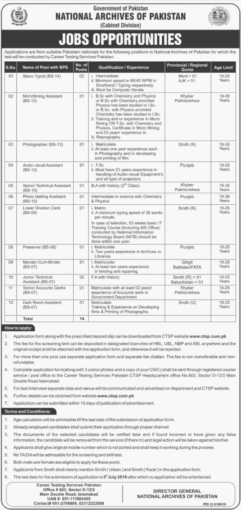 Government of Pakistan National Archives of Pakistan Cabinet Division Jobs 2019 Career Testing Services Pakistan CTSP