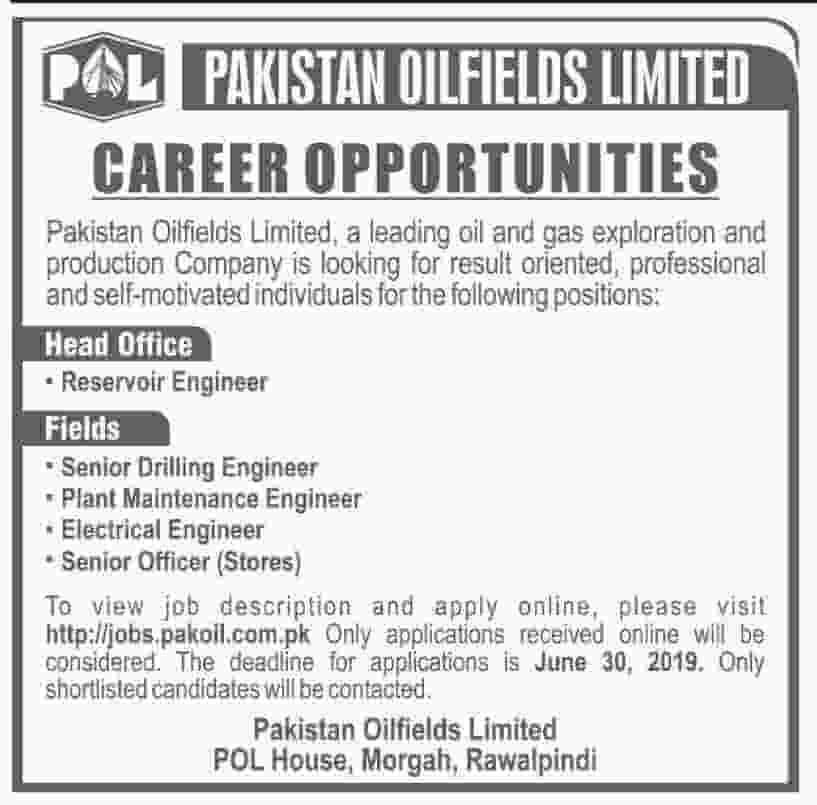Pakistan Oilfields Limited POL Jobs June 2019 Apply Online