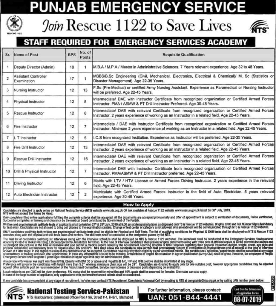 Rescue 1122 Staff and Driver Jobs 2019 www.rescue.gov.pk NTS