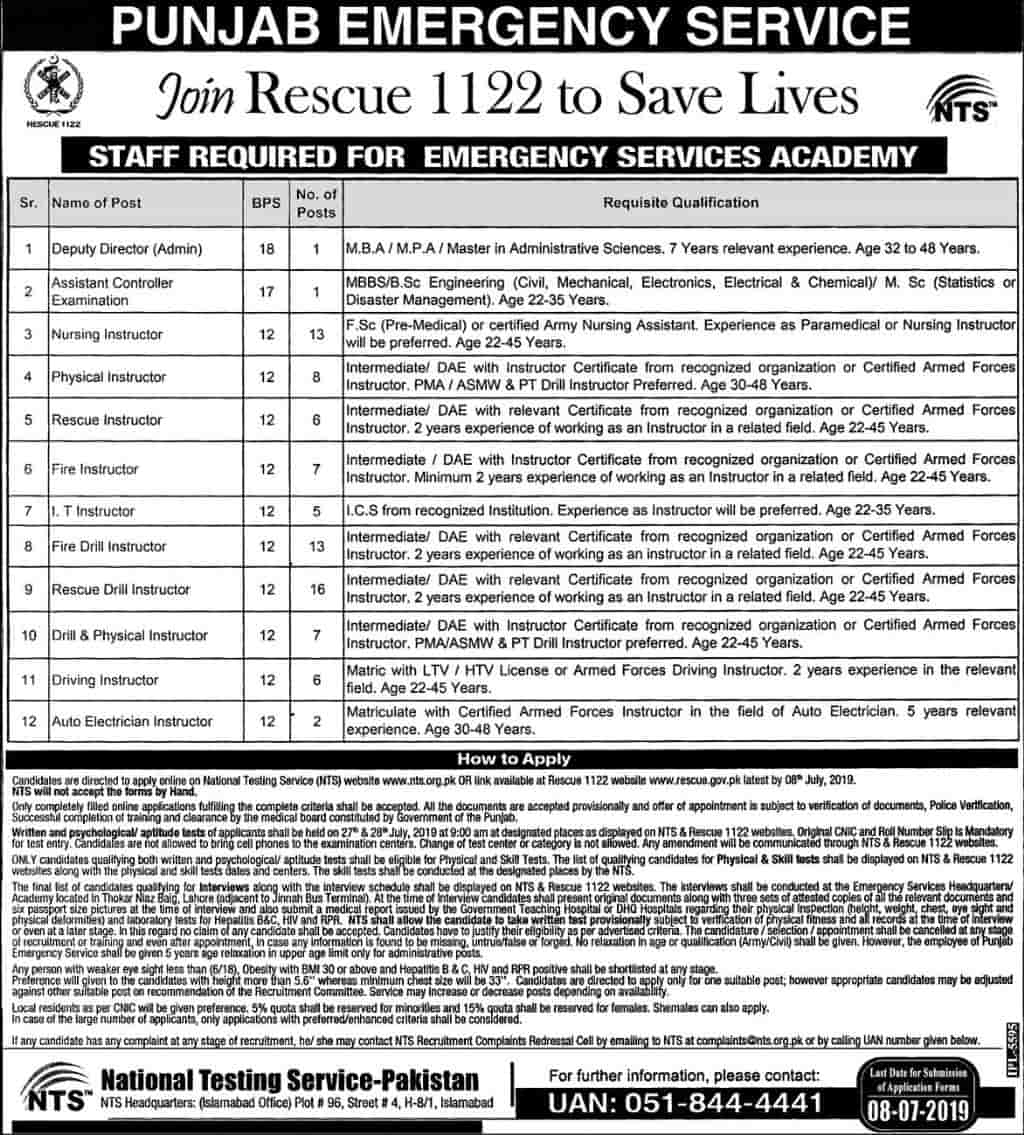 Rescue 1122 Staff and Driver Jobs 2019 www rescue gov pk NTS