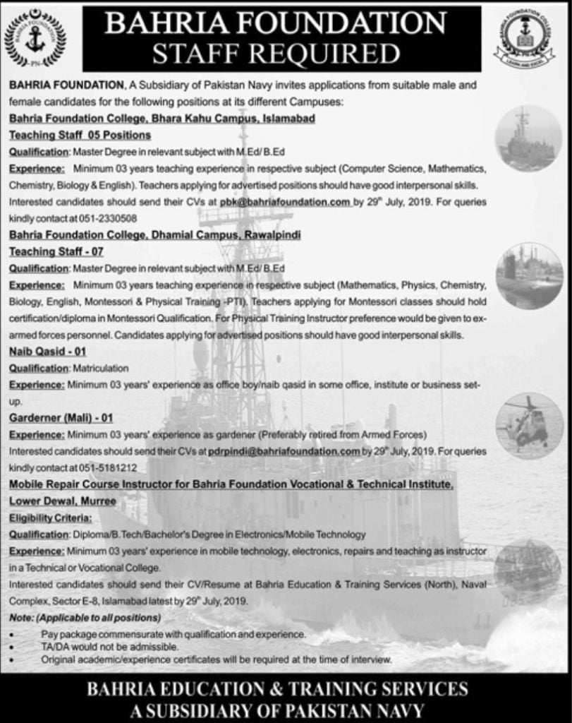 Bahria Foundation College Jobs for Teaching, Instructor & Other Staff