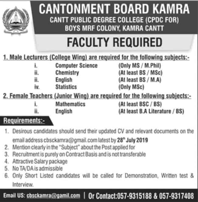 Cantonment Board Kamra Teaching Jobs 2019 Apply Online Cantt Public Degree College