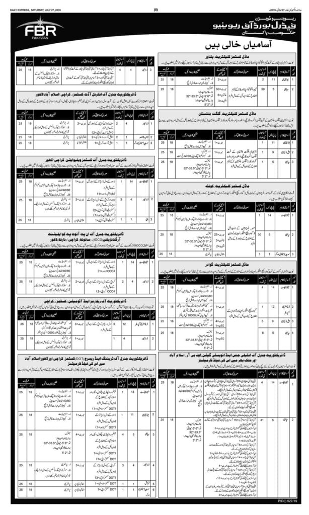 Government of Pakistan Federal Board of Revenue FBR Jobs 2019 OTS 2