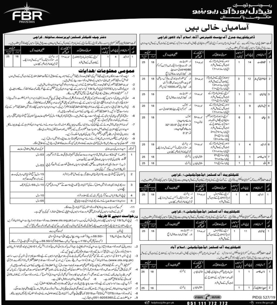 Government of Pakistan Federal Board of Revenue FBR Jobs 2019 OTS 3
