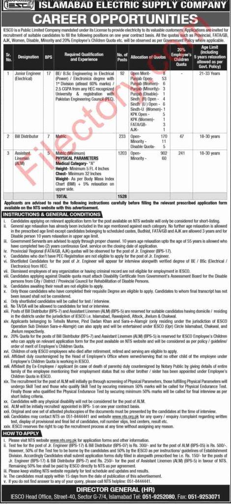 Islamabad Electric Supply Company IESCO Wapda Jobs 2019 NTS