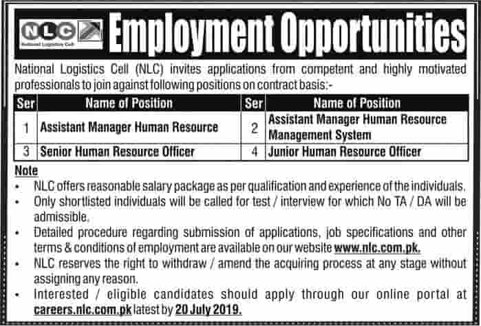 National Logistics Cell NLC HR Jobs July 2019 Advertisement Apply Now Online Application Form