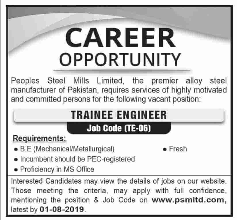 Peoples Steel Mills Limited Jobs 2019 Apply Online Trainee Engineer