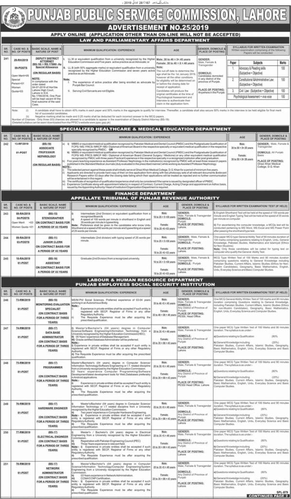 Punjab Public Service Commission PPSC New Jobs Today Advertisement No 25 2019 Apply Online 1